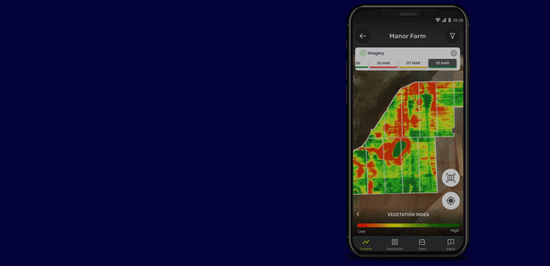 Smart phone displaying the Protector by Syngenta digital agriculture app. A video with field heat maps is shown on screen